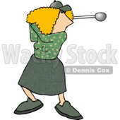 Female Golfer Swinging a Club Clipart Picture © djart #5979