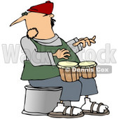 Royalty-Free (RF) Clipart Illustration of a Man Sitting And Playing Bongos © Dennis Cox #59791