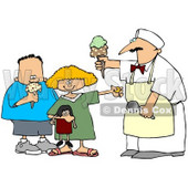 Royalty-Free (RF) Clipart Illustration of a Little Girl And Boy Buying Ice Cream Cones © Dennis Cox #59795