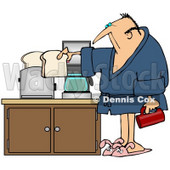 Royalty-Free (RF) Clipart Illustration of a Sleepy Man In A Robe, Preparing Coffee And Toast In His Kitchen © Dennis Cox #59797