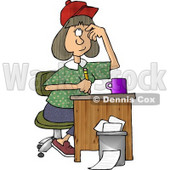 Female Writer Scratching Her Head While Holding a Pencil Clipart Picture © djart #5980