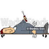 Royalty-Free (RF) Clipart Illustration of a Male Mechanic Laying On A Creeper And Holding Tools © djart #59800