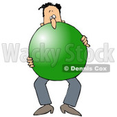 Royalty-Free (RF) Clipart Illustration of a Man Carrying A Giant Green Ball © Dennis Cox #59801