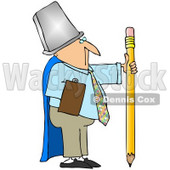 Royalty-Free (RF) Clipart Illustration of a Businessman Warrior Wearing A Trash Can And Cape, Holding A Pencil © Dennis Cox #59803
