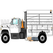 Royalty-Free (RF) Clipart Illustration of a Kneeling Man Inspecting The Underside Of His Work Truck © djart #59805