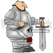 Royalty-Free (RF) Clipart Illustration of a Chubby Knight In Silver Armor, Holding A Sword And Helmet © djart #59807