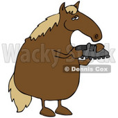 Royalty-Free (RF) Clipart Illustration of a Brown Horse Standing On His Hind Legs And Inspecting A Shoe © Dennis Cox #59808