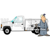 Man Pumping Gas Into a Commercial Utility Truck Clipart Picture © Dennis Cox #5981
