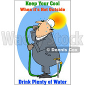 Royalty-Free (RF) Clipart Illustration of a Thirsty Worker Drinking Hose Water © djart #59810