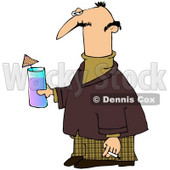 Royalty-Free (RF) Clipart Illustration of a Nerdy Man Carrying A Cocktail And A Cigarette © Dennis Cox #59811