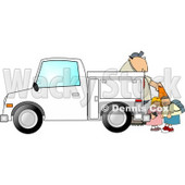 Royalty-Free (RF) Clipart Illustration of Children Watching A Man Set Out Construction Cones © djart #59813