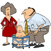Royalty-Free (RF) Clipart Illustration of a Mom And Dad Watching Their Baby Play In A Bouncer © djart #59814
