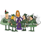 Royalty-Free (RF) Clipart Illustration of a Princess Surrounded By Robin Hood And His Merry Men © djart #59815