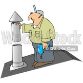 Royalty-Free (RF) Clipart Illustration of a HVAC Man Working on a Roof © Dennis Cox #59817