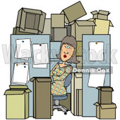 Royalty-Free (RF) Clipart Illustration of a Busy Woman Working In A Tiny Cubicle Crowded With Boxes © djart #59818