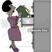 African American Female Clerk Putting Documents Into a Filing Cabinet Clipart Picture © djart #5982