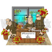 Three Men Working in a Flower Store Clipart Picture © Dennis Cox #5984