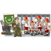 Football Coach Standing in the Locker Room with His Players Clipart Picture © Dennis Cox #5988