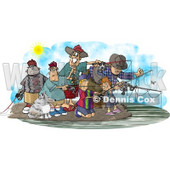 Family and Friends Fishing Together at a Lake Clipart Picture © djart #5990