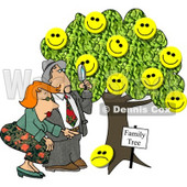 Male Genealogist Looking Through a Magnifying Glass at a Family Tree Clipart Picture © djart #5995