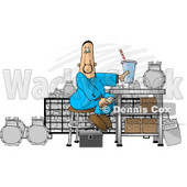 Gas Meter Repairman Sitting in His Shop Eating Lunch Clipart Picture © djart #5996