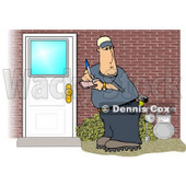 Meter Man Collecting Natural Gas Usages from Residential Houses Clipart Picture © djart #5998