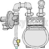 Residential Natural Gas Meter of the Usual Diaphragm Style Clipart Picture © djart #5999
