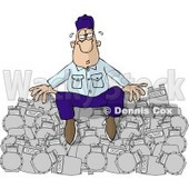 Overworked Repairman Sitting On a Pile of Broken Gas Meters Clipart Picture © Dennis Cox #6001