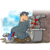 Male Worker Resetting a Residential Gas Meter Clipart Picture © Dennis Cox #6002