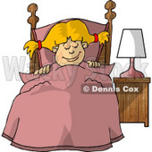 Young Girl Sleeping Peacefully in Her Bedroom Clipart Picture © djart #6004
