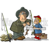Grandpa Baiting Grandson's Fishing Hook Clipart Picture © djart #6005