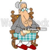 Grandma Eating Food in Her Rocking Chair Clipart Picture © djart #6006