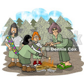 Girlscouts Standing Beside a Campfire in the Forest Clipart Picture © djart #6007