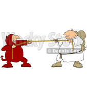 Tug Of War Battle Between Good and Evil (Devil and Angel) Clipart Picture © Dennis Cox #6008