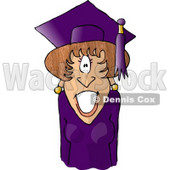 Graduated Female Wearing Cap and Gown Clipart Picture © djart #6009