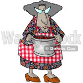 Grandma Carrying a Cooking Pot Full of Fresh Red barriers Clipart Picture © Dennis Cox #6010