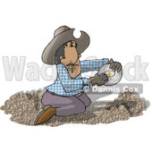 Happy Mexican Gold Miner Finding Gold Nuggets in a Pile of Dirt Clipart Picture © Dennis Cox #6012