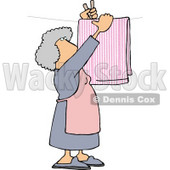 Housewife Hanging Laundry Out to Dry On a Clothesline Clipart Picture © djart #6015