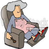 Housewife Relaxing On a Comfortable Recliner Chair Clipart Picture © Dennis Cox #6017
