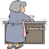 Housewife Cleaning Dirty Dishes Clipart Picture © djart #6018