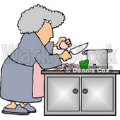 Housewife Preparing a Meal for Dinner Clipart Picture © djart #6020