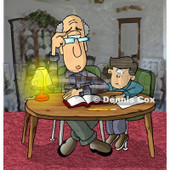 Dad Helping Son with Homework Clipart Picture © Dennis Cox #6021
