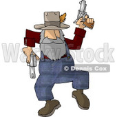 Hillbilly Shooting Guns While Dancing Around Clipart Picture © Dennis Cox #6022