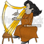 Female African American Harpist Playing the Harp  Clipart Picture © djart #6025