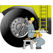 Repairman Putting a New Tire On a Huge Truck Clipart Picture © Dennis Cox #6026