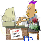 Computer Hacker at Work Clipart Picture © Dennis Cox #6028
