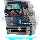 Man Driving a Chevy Pickup Truck in the Snow Clipart Picture © djart #6030
