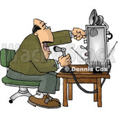 Man Talking On the Radio Clipart Picture © Dennis Cox #6031