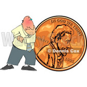 Cheapskate Businessman Pushing a Copper Penny Clipart Picture © Dennis Cox #6032