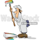 Man Using a Roller Brush to Paint a Wall With Colorful Paint Clipart © djart #6035